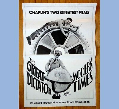vintage ORIG.MOVIE POSTER~CHARLIE CHAPLIN~GREAT DICTATOR/MODERN TIMES theater