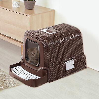 Pet Cat Litter Box Portabel Design with Easy Clean Tray
