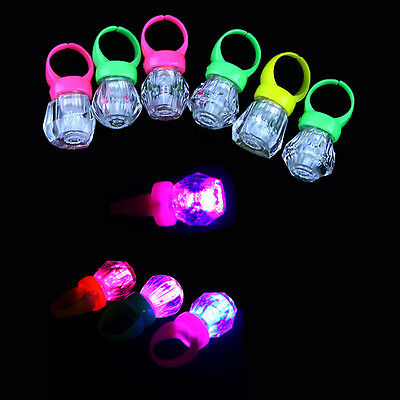 10x LED Light Up Flashing Finger Rings Glow Party Favors Glow Kids Children Toys