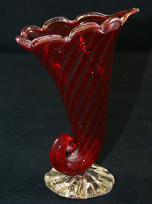 Vintage Hand Blown Ruby Red & Gold Glass Horn Of Cornucopia.