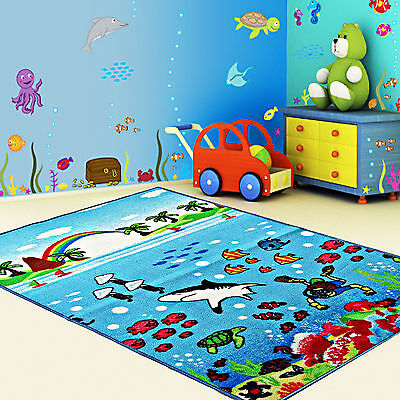 Kids Sea Life Ocean Rugs Girls Boys Bedroom Floor Adventure Play Mats Carpets