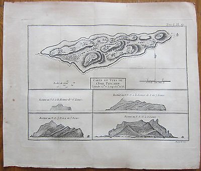 Cook Voyages Original Map of Pitcairn - 1774