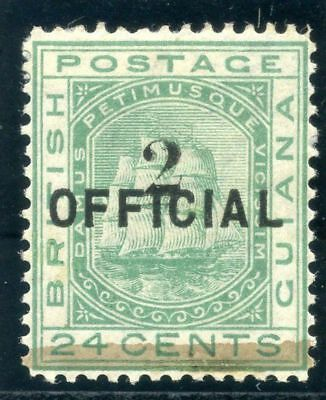 British Guiana 1881 QV 2 on 24c emerald-green MLH. SG 157. Sc 101 .