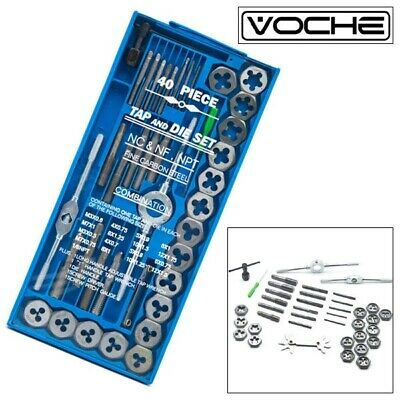 Voche® 40Pc Professional Metric Tap Wrench And Die Set Cuts M3-M12 Bolts + Case
