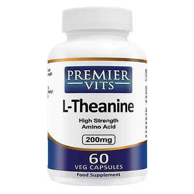 L-Theanine, 200mg x 60 VCaps, PremierVits, 24Hr Dispatch, UK Stocks