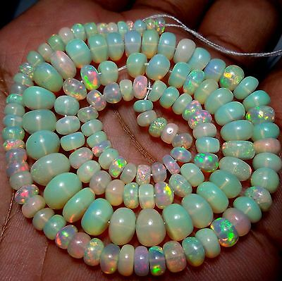 69 Ct 4 to 8 MM Natural Multi Fire Ethiopian Opal Rondelle Beads 16 Inch Strands