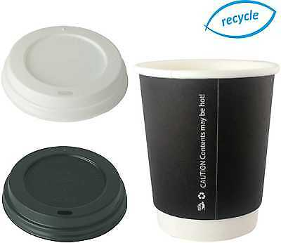 8/12/16oz Double Wall Disposable Coffee Cups Black Hot Drinks Paper Cup Sip Lid
