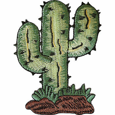 Cactus Iron On Patch / Sew On Clothes Jacket Jeans Bag Plant Embroidered Badge