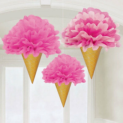 3 PINK ICE CREAM CONE POM POM FLUFFY DECORATIONS Hanging Party Decoration 18009