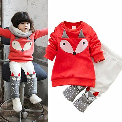 2pcs Winter Kid Girl Clothes Warm Tops Sweater+Pants Outfit Set Baby Tracksuit