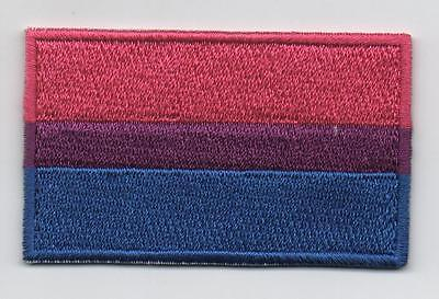 Embroidered BISEXUAL PRIDE Flag Iron on Sew on Patch  HIGH QUALITY APPLIQUE