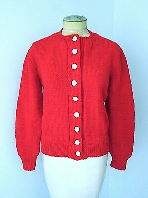 VGC Vtg 60s Bright Red Acrylic Hand Knit Cardigan Sweater White Eye Buttons S/M