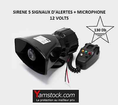 Sirene 5 tonalitées avec microphone, 130 Db US FIRE , AMBULANCE , POLICE ETC...