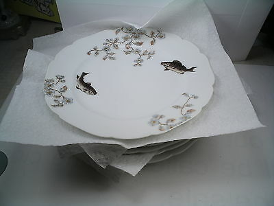 """Antique Set Of 6  Cfh/gdm Hand Painted Limoges  Plates With Fish. 8 1/2"""""""