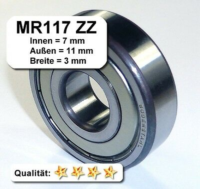 10 Stk. Radiales Rillen-Kugellager MR117ZZ - 7 x 11 x 3 mm
