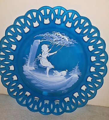 WESTMORELAND Hand painted Blue Satin Lace Glass Plate