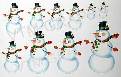 SNOWMAN x10 Window Self Cling Reusable Sticker Xmas Decoration Christmas Novelty