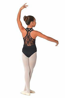 Girls Kids Childrens Racer Back Leotard w Pinch Front & Lace Accents by DANSHUZ