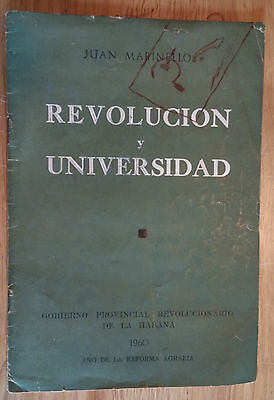 "Book 1960 ""revolucion Y Universidad"" Juan Marinello Cuba University & Revolution"