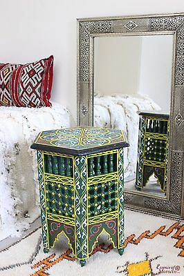Moroccan Side Table Moucharaby Fretwork Zouak Wood Handmade. Green (ZT6)