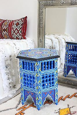 Moroccan Side Table Moucharaby Fretwork Zouak Wood Handmade. Blue (ZT10)