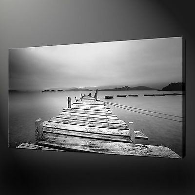 Misty Dock Quality Canvas Print Picture Modern Wall Art Ready To Hang