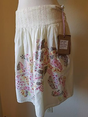 By ARYAL~Vintage BOHO Style Cream Skirt With Pink Floral Work & Back Bow Tie