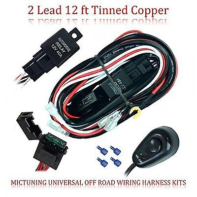 Mictuning Universal [2 Lights 12 ft] Tinned Copper Off Road LED Wiring Harnes...