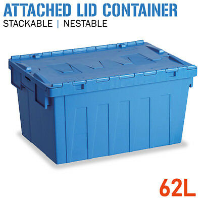 Attached Lid Container - 62 Litre - Stackable Plastic Storage Container Crate