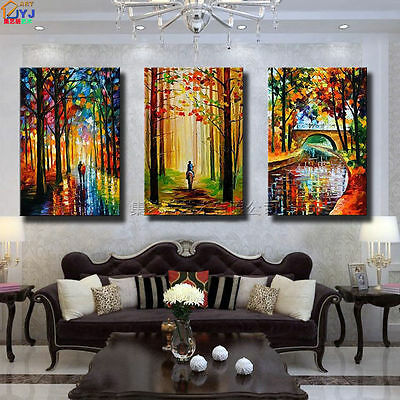 3PC Modern Abstract hand-painted Oil Painting on canvas:Scenery (with framed)