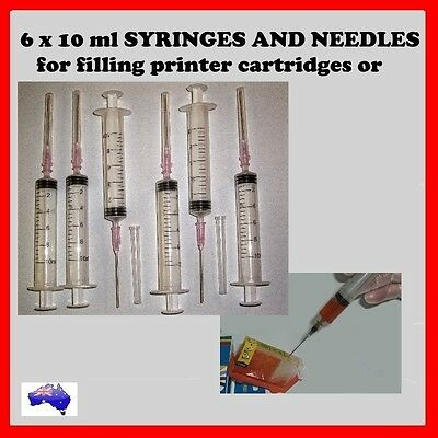 6 x 10 ml Syringes and Needles for refilling printer cartridges or CISS system.