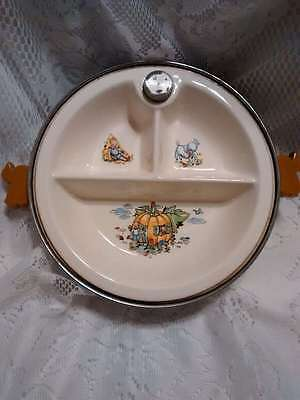 Vintage Majestic Products Baby Warming Dish Bowl Divided Nursery Rhymes