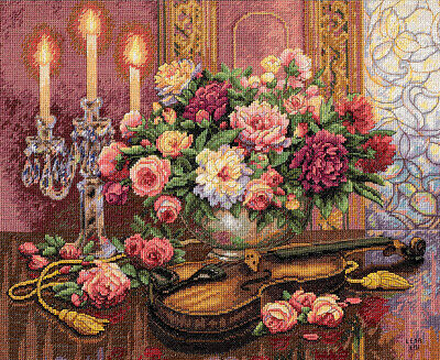 """Gold Collection Romantic Floral Counted Cross Stitch Kit-16""""X13"""" 14 Count"""