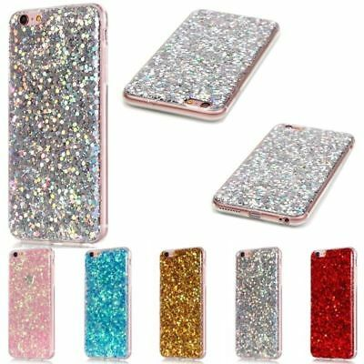 Rubber Bling Glitter Silicone TPU Gel Cover Case For iPhone 5S 6 6S 7 Plus SE