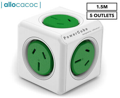 Allocacoc 5-Outlet Original 1.5m Extended PowerCube - Green