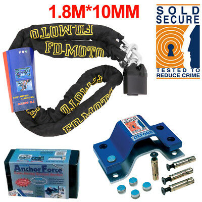 Motorcycle Chain Lock 1.8M + Oxford Anchor Force Ground Anchor SOLD SECURE Gold