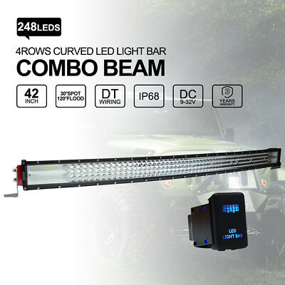 42 inch 648W Curved Philips LED Light Bar Spot Flood Combo Offroad 4WD 12 24V