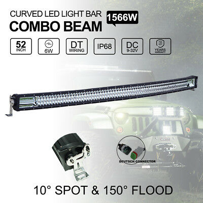"""52"""" inch 1566W Curved LED Light Bar Spot Flood Combo Offroad Work Driving Lamp"""