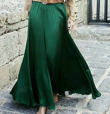 Zara Sold Out Green Silky Satin Maxi Skirt Bloggers Size S Small 8