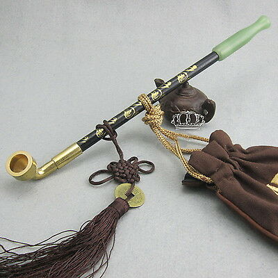 Chinese long stem tobacco smoking pipes wood jade cigarette holder pipe L