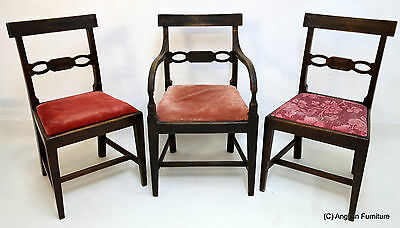 3 Oak Georgian Dining Chairs Including 1 Armchair Free Nationwide Delivery