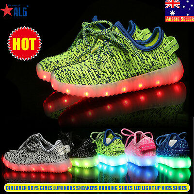 Children Boys Girls Led Light Up Lace-up Luminous Sneakers Kids Running Shoes