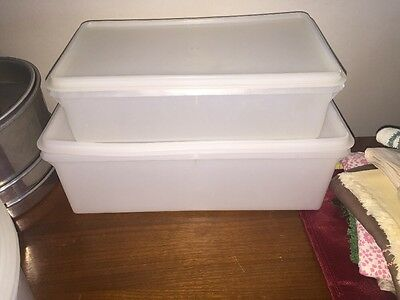 Lot Of 2 Tupperware Clear Rectangular #606-9 607-2 677-2 Cold Cut Container