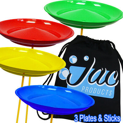 Set of 3 Spinning Plates & Sticks - Circus Kids Skill Toy & Jac Products Bag