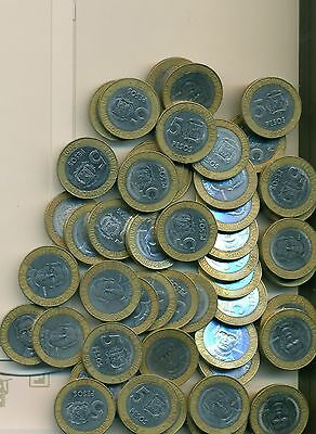 50 BI-METAL 5 PESO COINS from the DOMINICAN REPUBLIC (ALL DATING 2002)