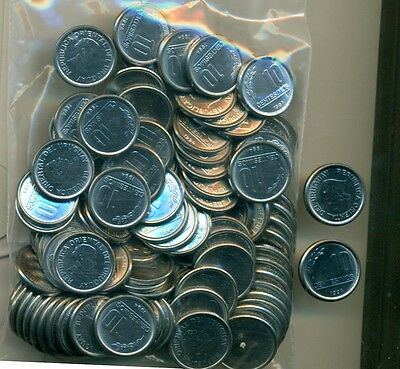 100 - 10 CENTESIMO COINS from URUGUAY (ALL DATING 1994/AU to UNC.)