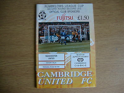 1991/2 Cambridge United v Manchester United - League Cup 2nd Round - Excellent