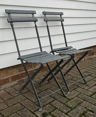 Fabulous Vintage French Pair Of Folding Garden Chairs