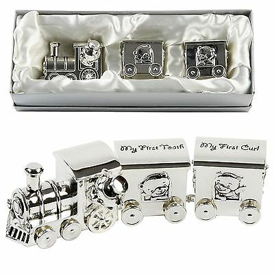 MY FIRST TOOTH & CURL TRAIN  CARRIAGE - Silver Plated New Baby Christening Gift