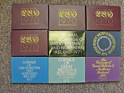 9 Great Britain & Northern Ireland Proof Mint Coin Sets All Nice Clean Sets